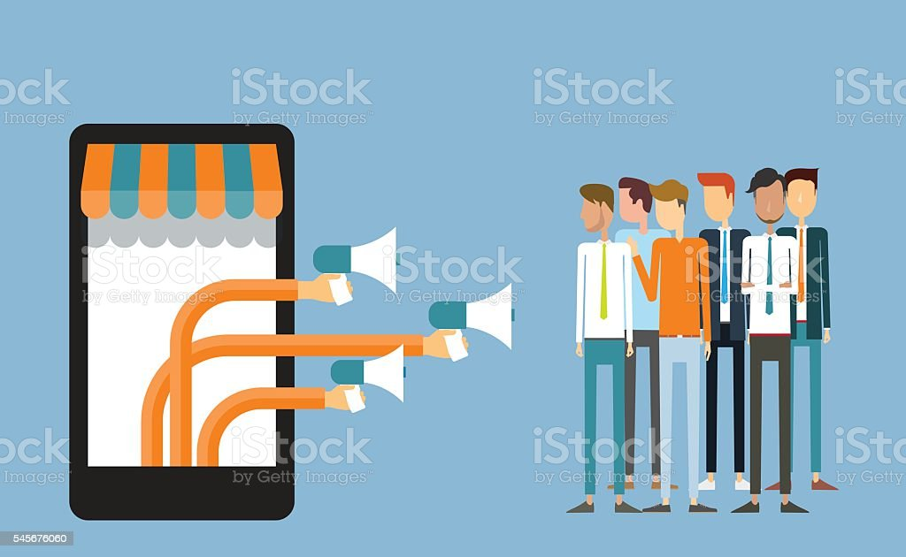 business digital marketing on mobile and .business announce advertisement concept vector art illustration