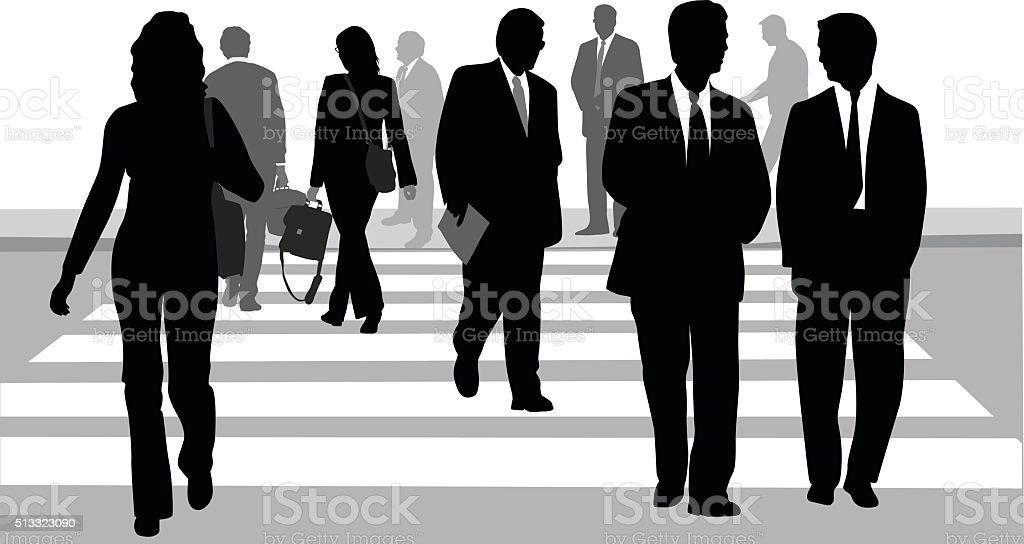 Business District Crosswalk vector art illustration