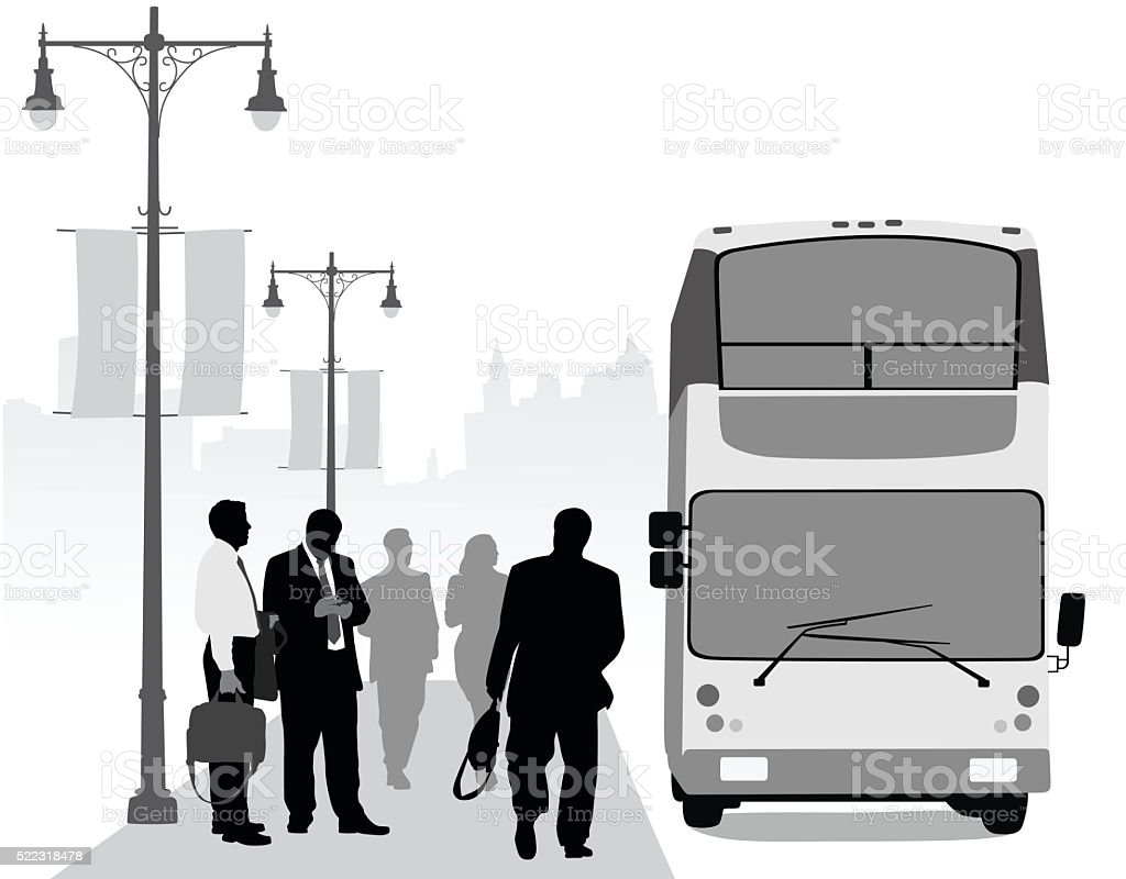 Business District Urban Transit vector art illustration