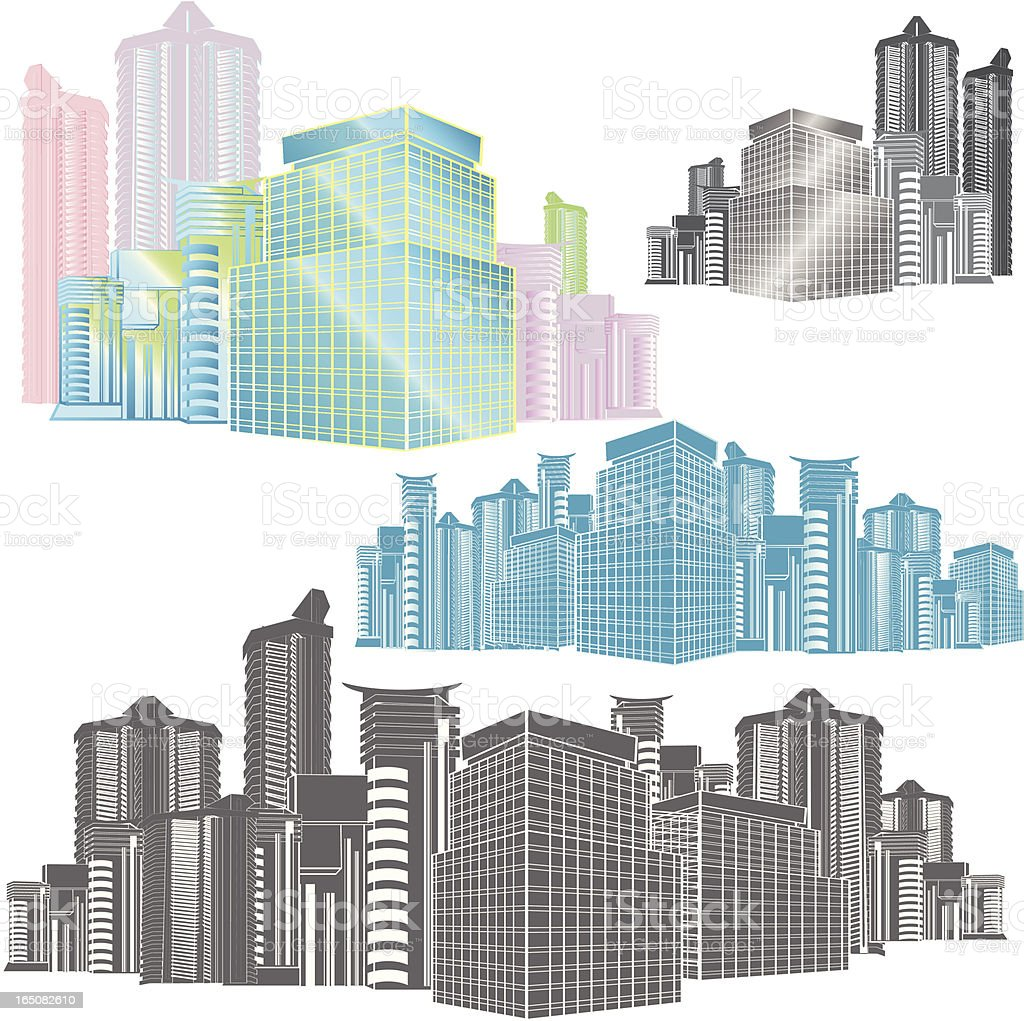 Business District vector art illustration