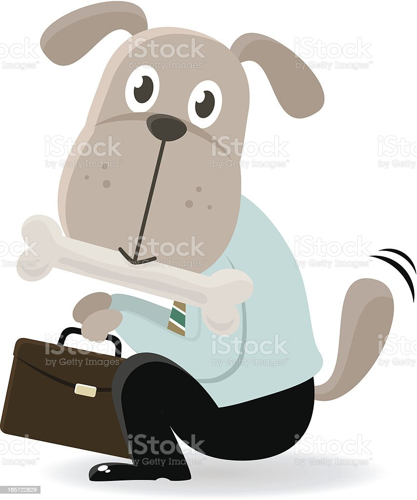 Business Dog biting a bone and begging royalty-free stock vector art