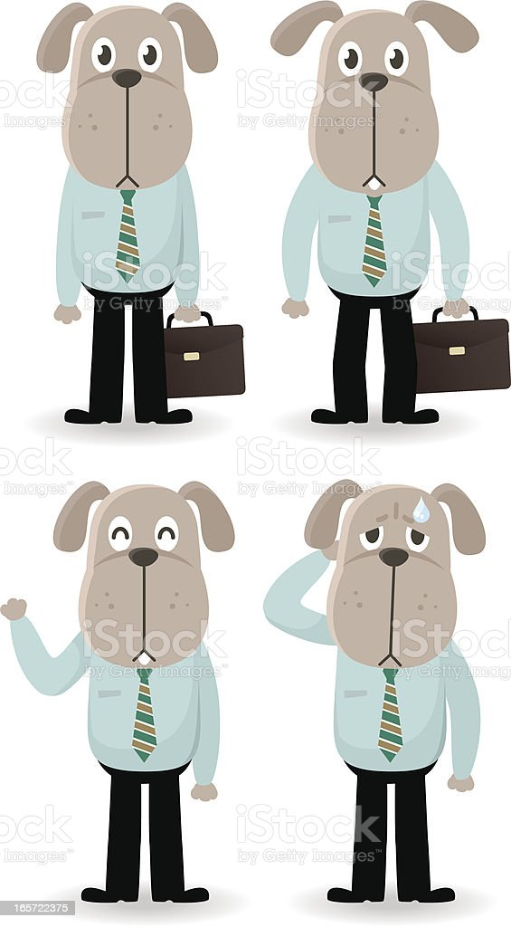 Business Dog Holding A Briefcase, Greeting, Depression royalty-free stock vector art