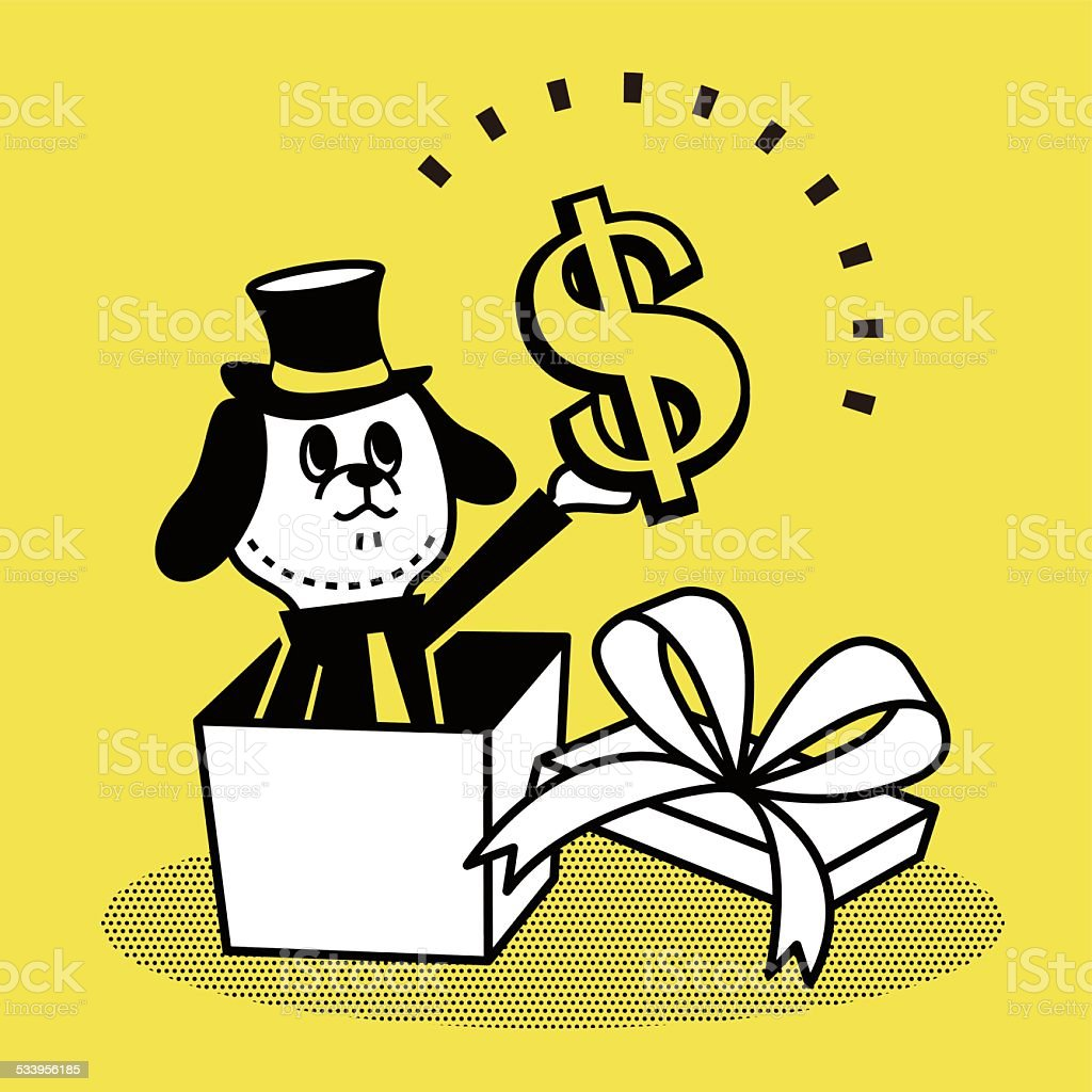 Business Dog showing a gift box with money vector art illustration