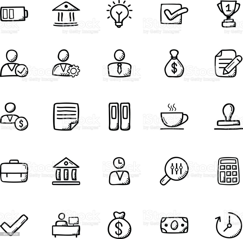 Business Doodle Icons 2 vector art illustration