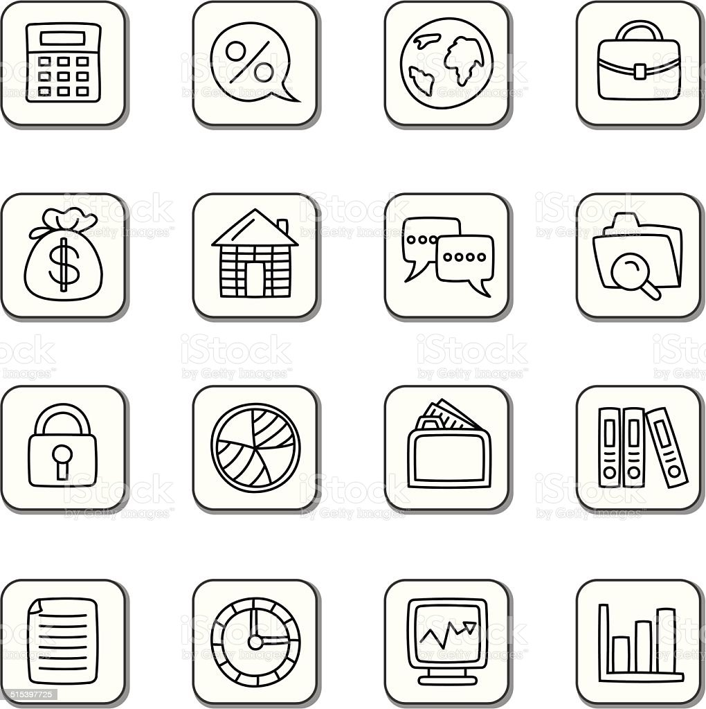 Business Doodle Icons vector art illustration