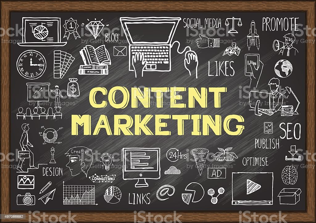 Business doodles about content marketing on chalkboard. vector art illustration