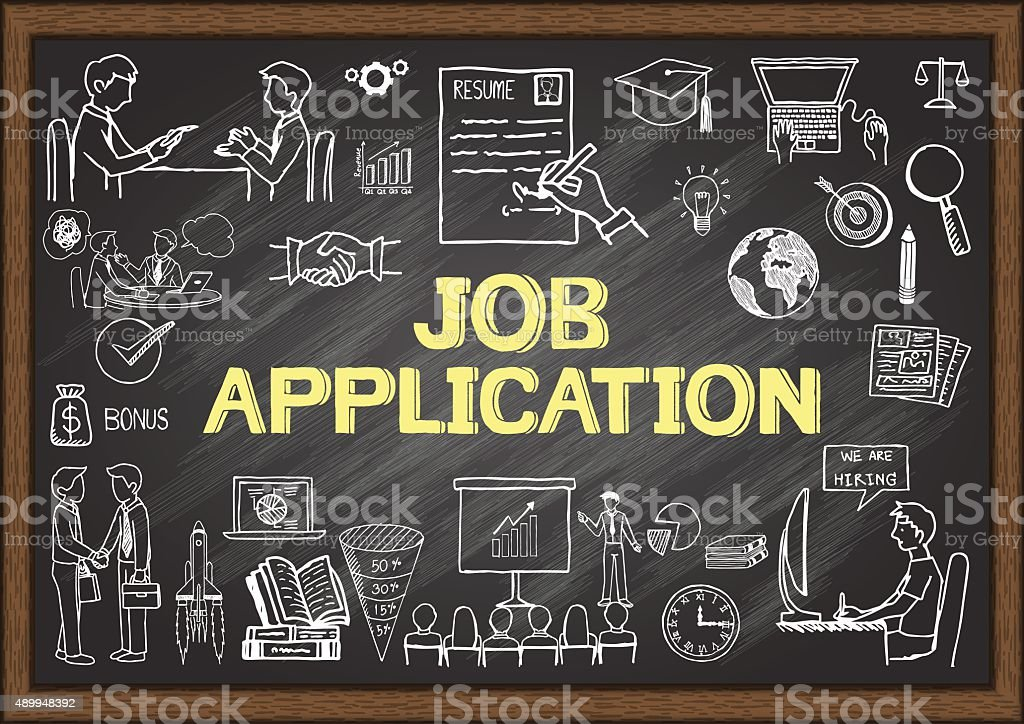 Business doodles about job application on chalkboard. vector art illustration