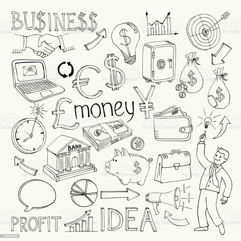 Business doodles, hand doodle royalty-free stock vector art