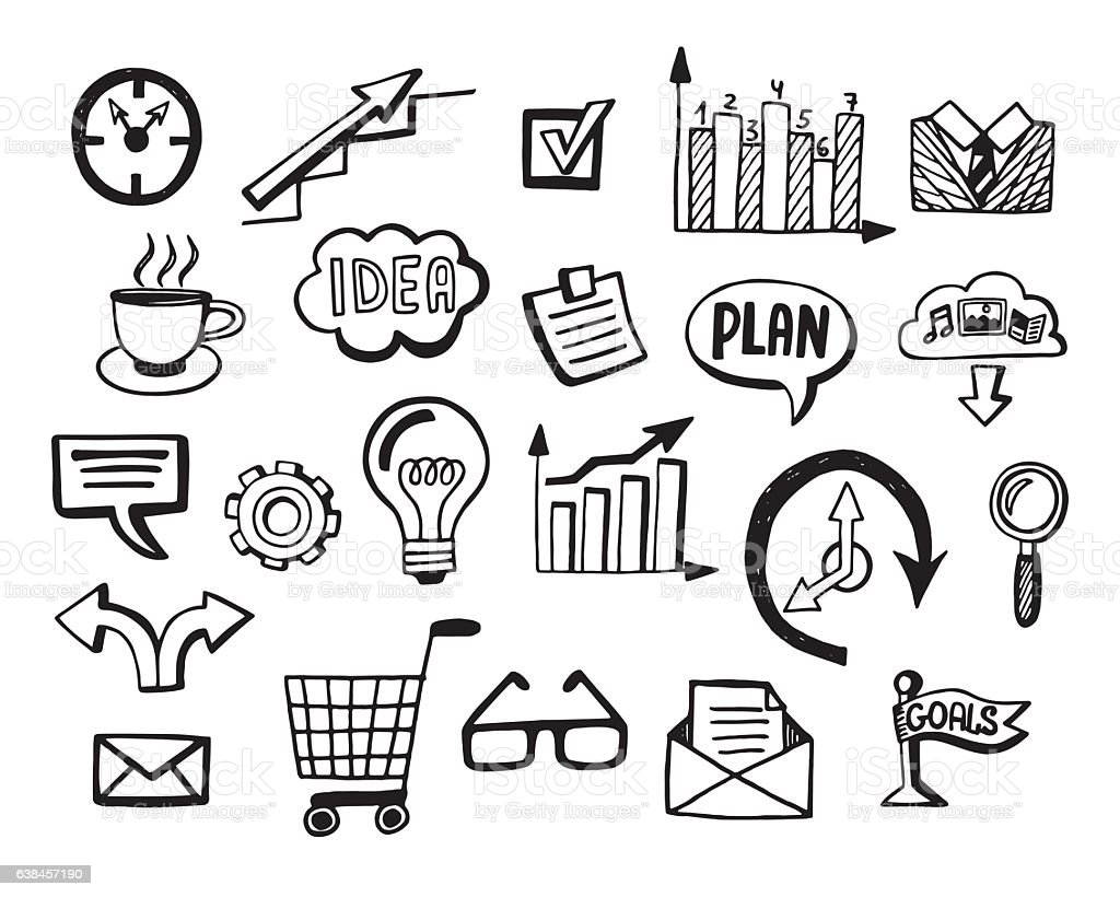 Business doodles icons set vector art illustration