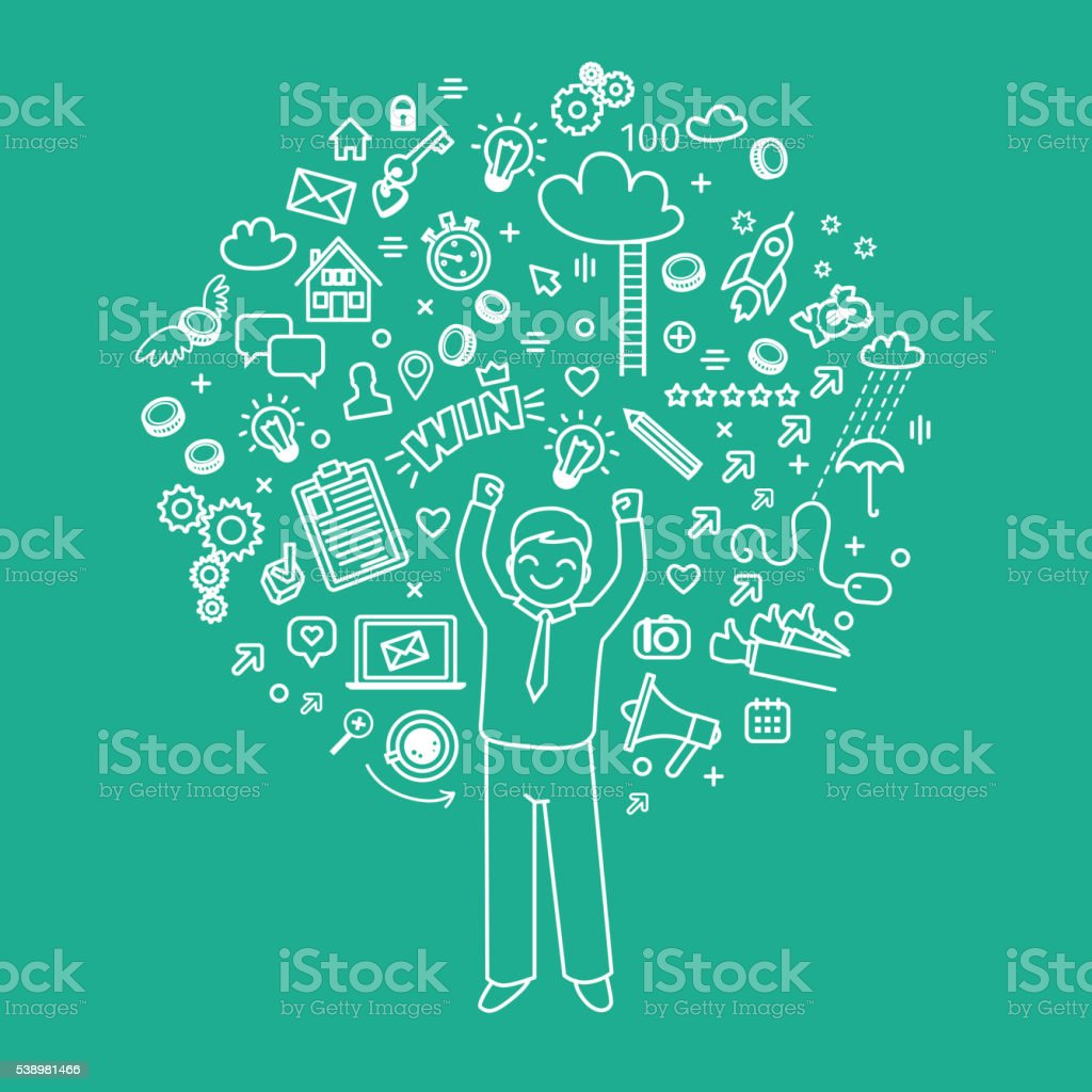 Business doodles icons vector art illustration