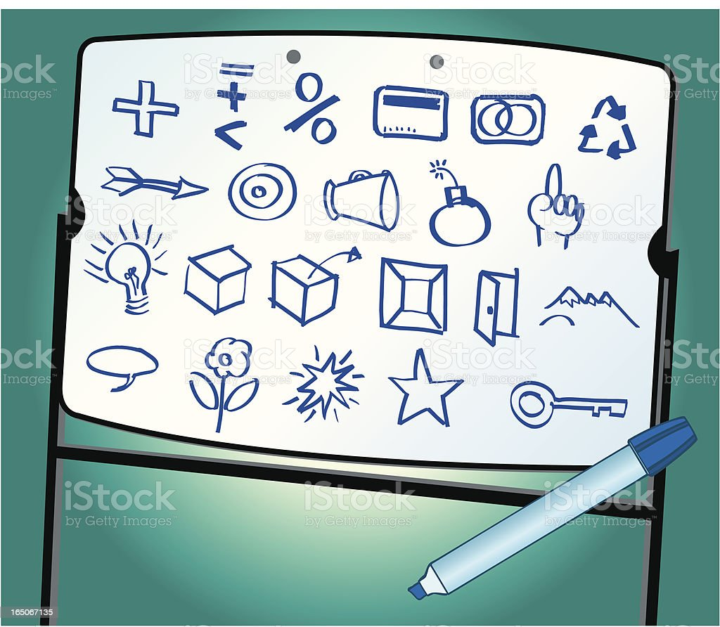Business Doodles on White Board royalty-free stock vector art
