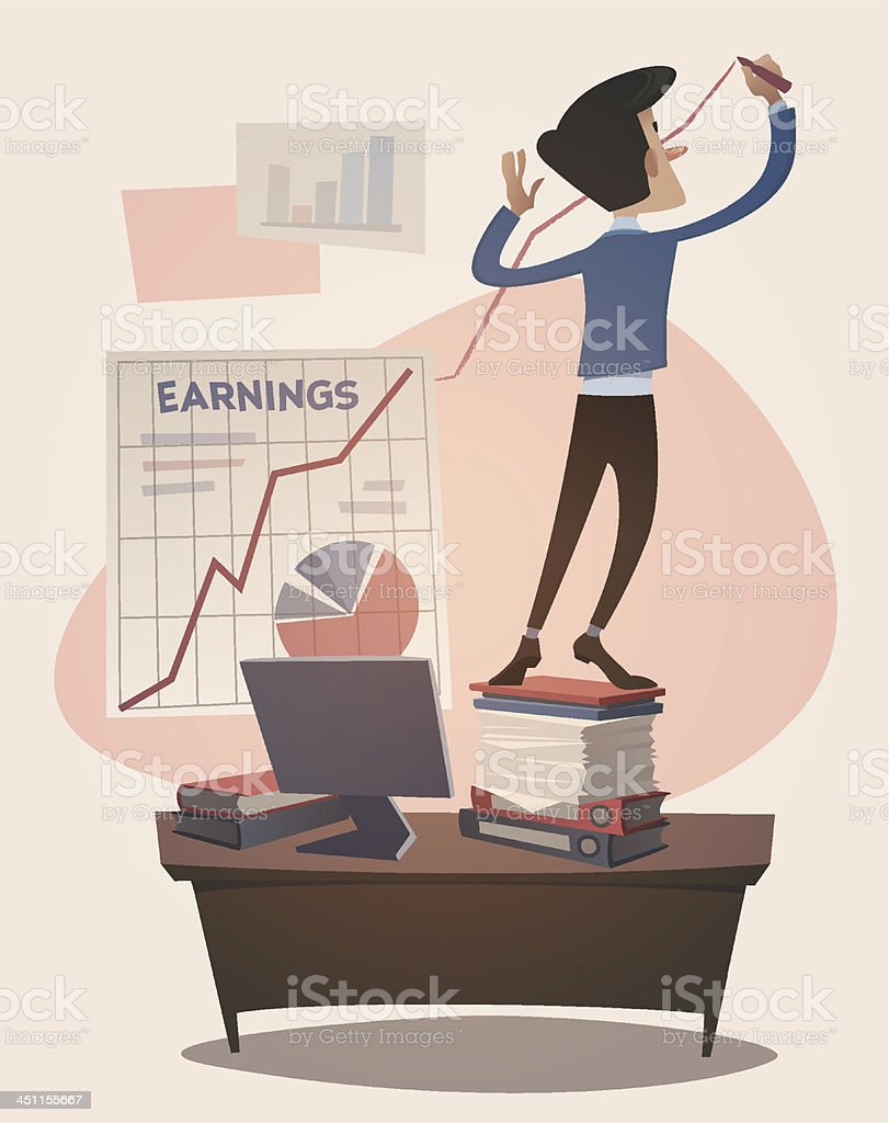 Business earnings graphic grown up. Retro style vector royalty-free stock vector art