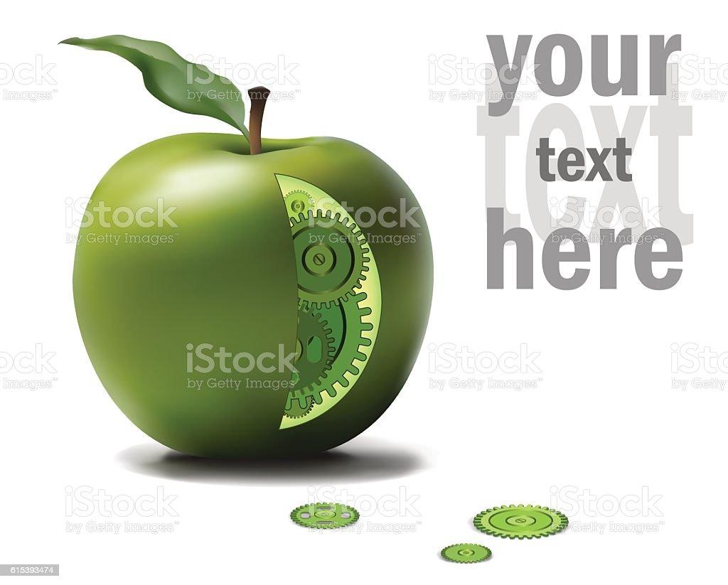 Business Eco Gear Idea Mechanism in Green Apple. GMO, genetics vector art illustration