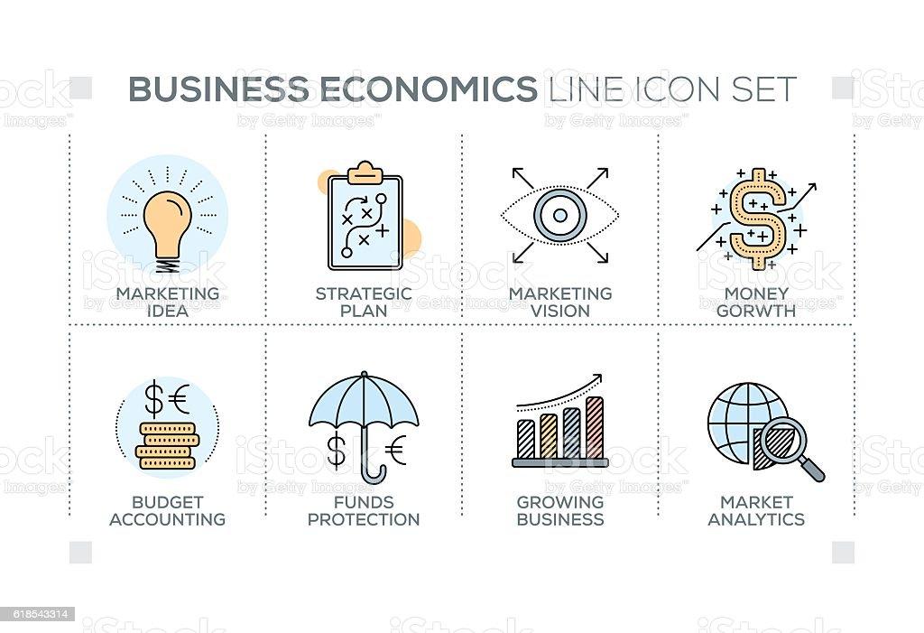 Business Economics keywords with line icons vector art illustration