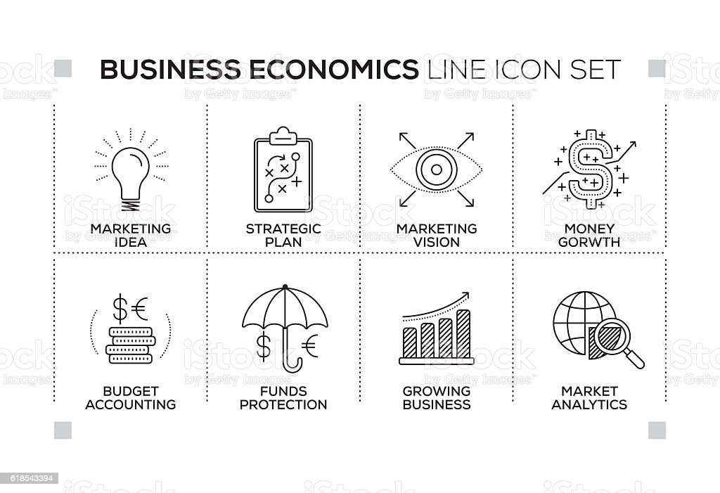 Business Economics keywords with monochrome line icons vector art illustration