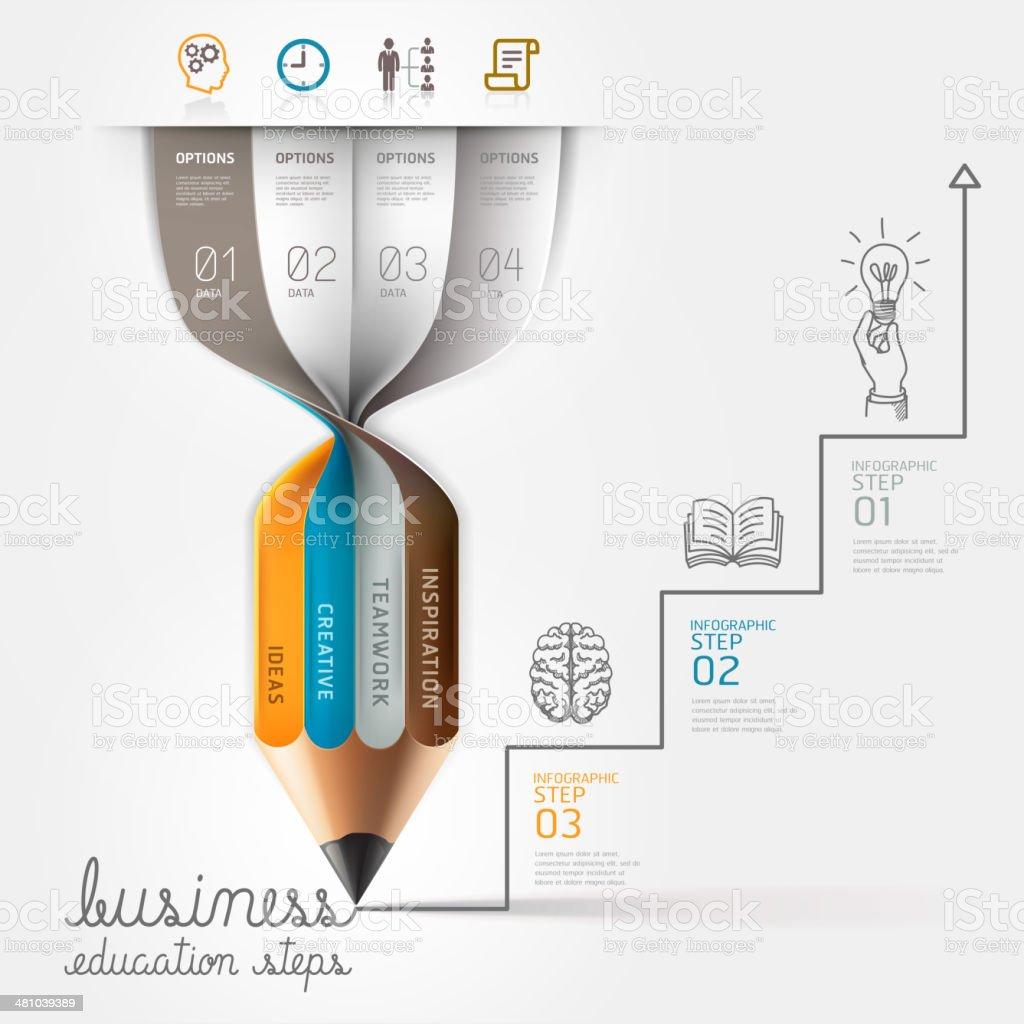 Business education pencil Infographics step option. vector art illustration