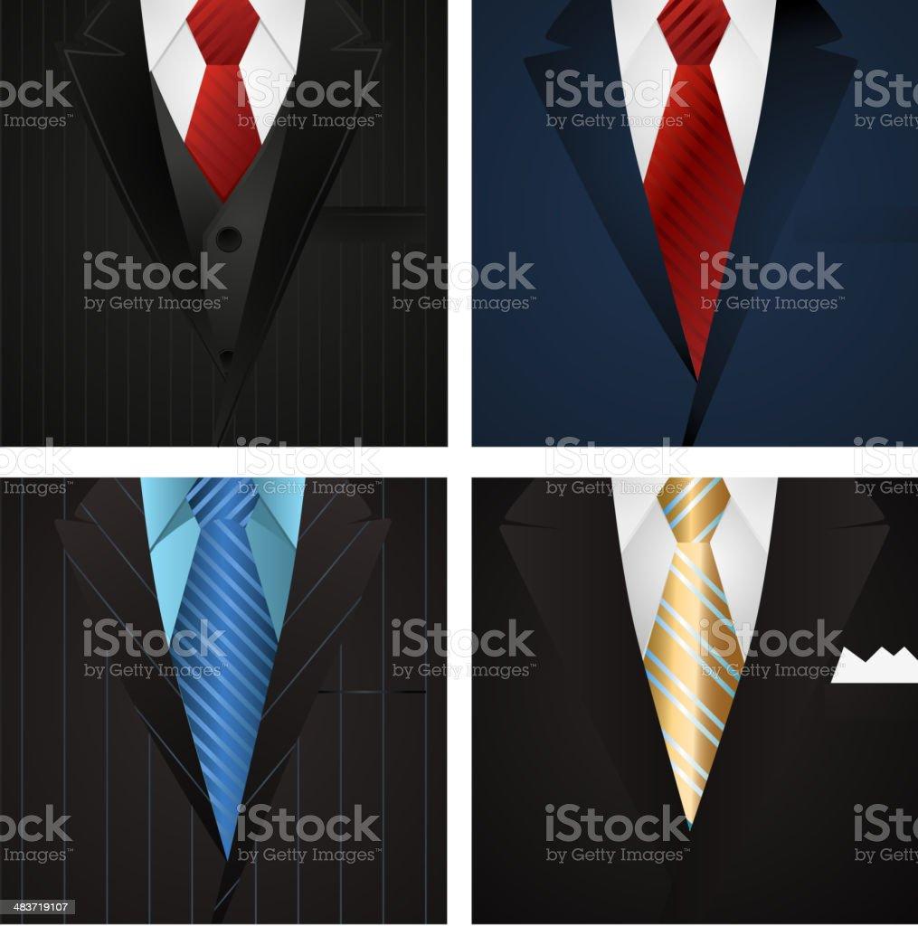 Business Elegance Formal Suit with tie vector art illustration
