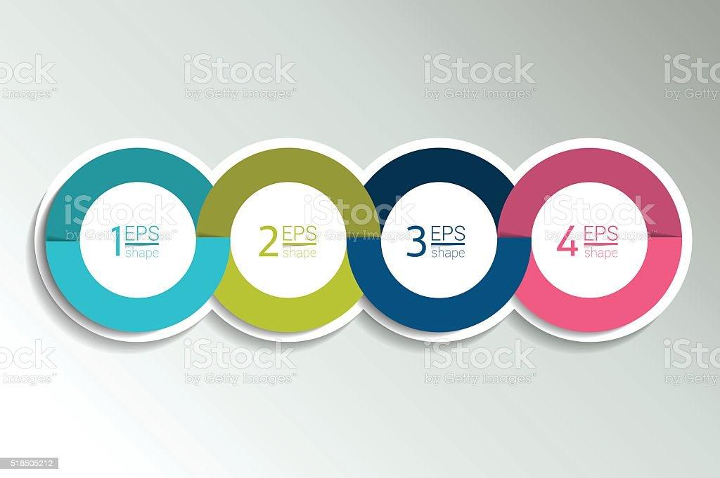 4 business elements banner, template. 4 steps design, chart, infographic vector art illustration