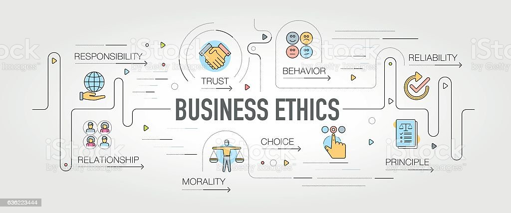 Business Ethics banner and icons vector art illustration