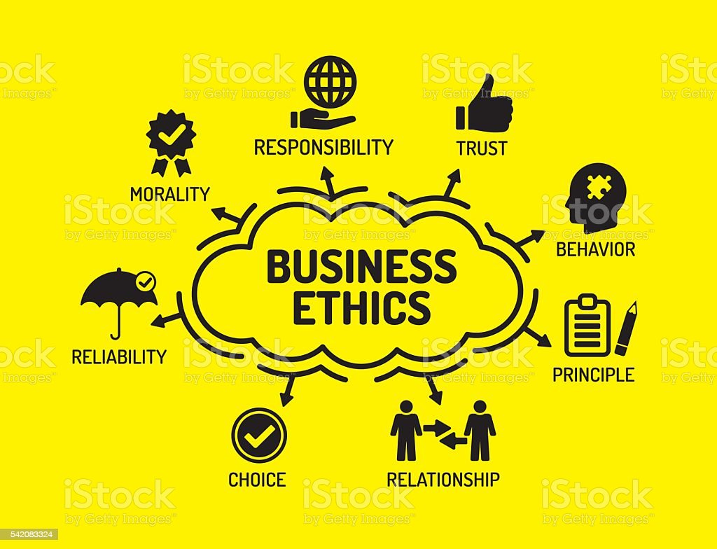 Business Ethics. Chart with keywords and icons on yellow backgro vector art illustration