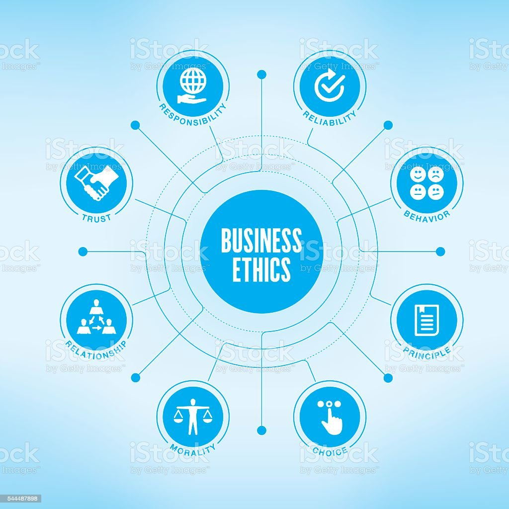 Business Ethics chart with keywords and icons vector art illustration