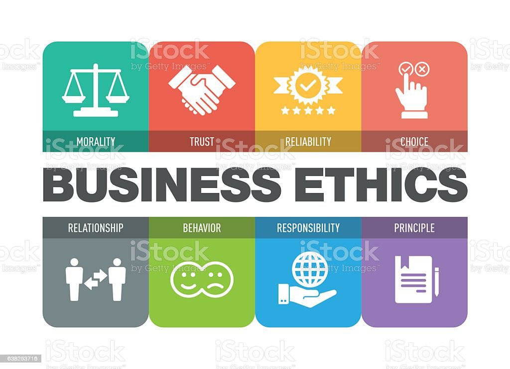 Business Ethics Icon Set vector art illustration