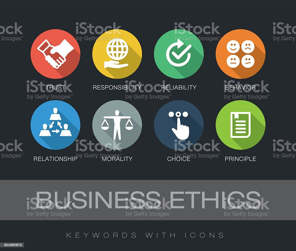 Business Ethics keywords with icons vector art illustration