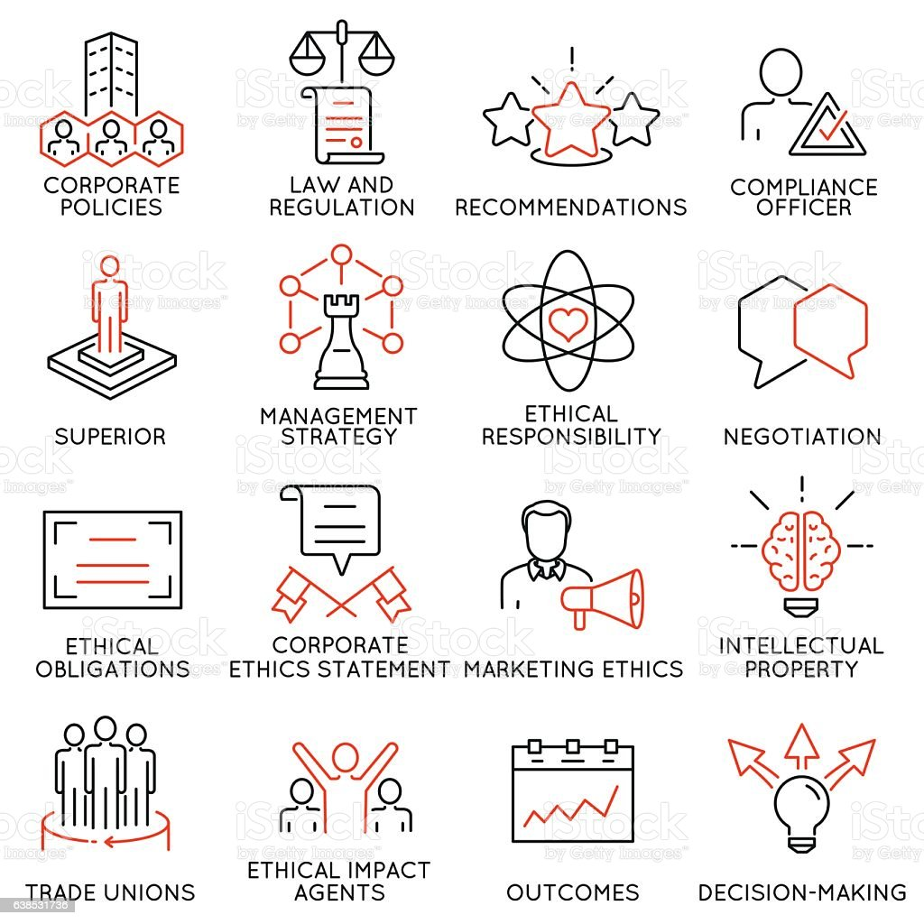 Business ethics, management, strategy and development icons - part 3 vector art illustration