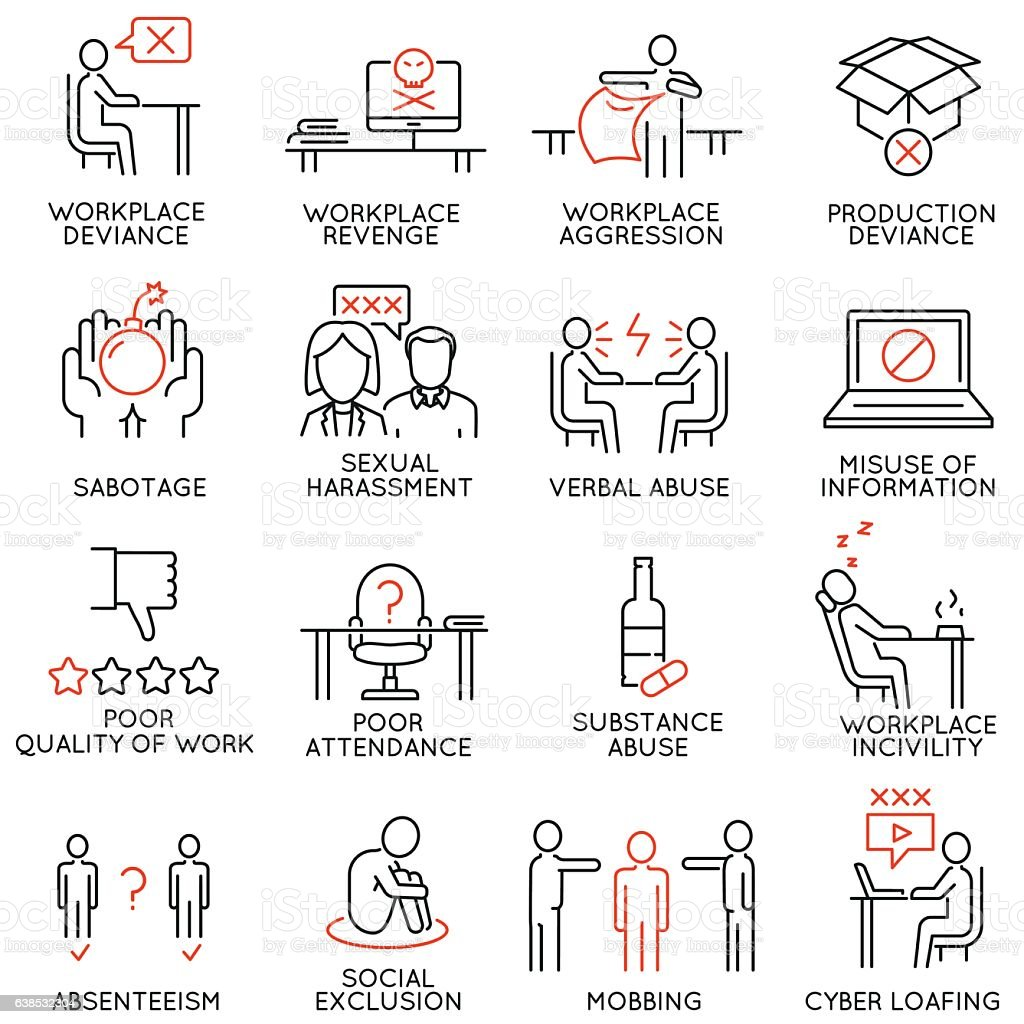 Business ethics, organizational behavior in the workplace icons - part1 vector art illustration