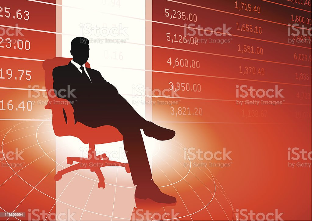 Business executive background with stock market data royalty-free stock vector art
