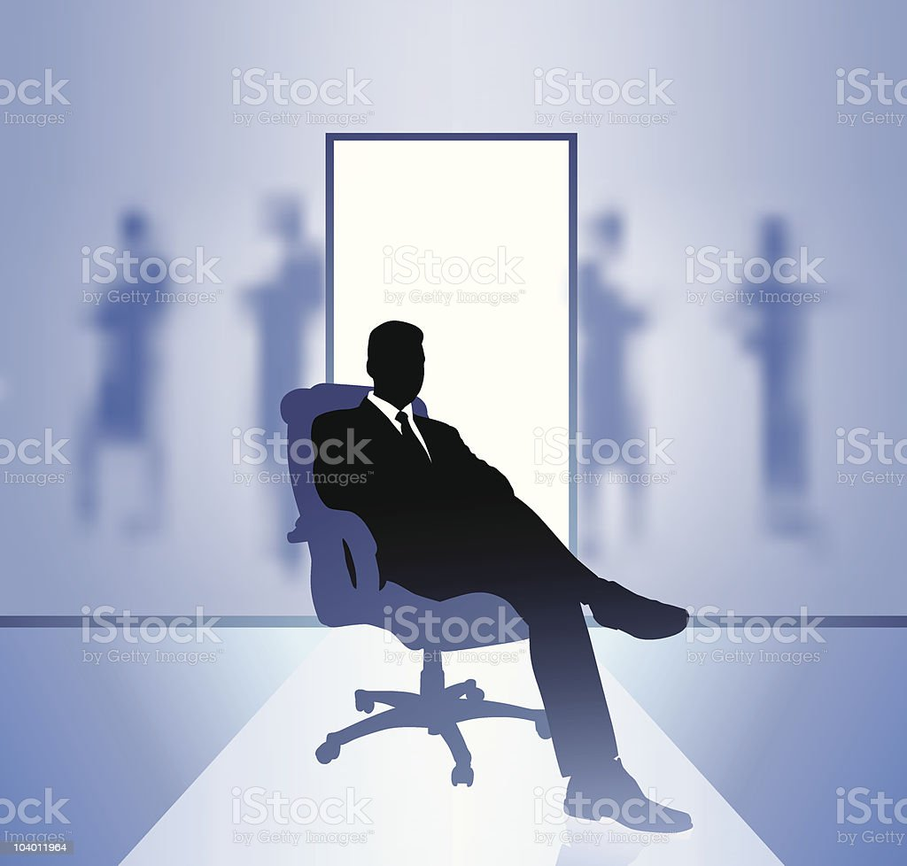 business executive in focus on blurry background vector art illustration