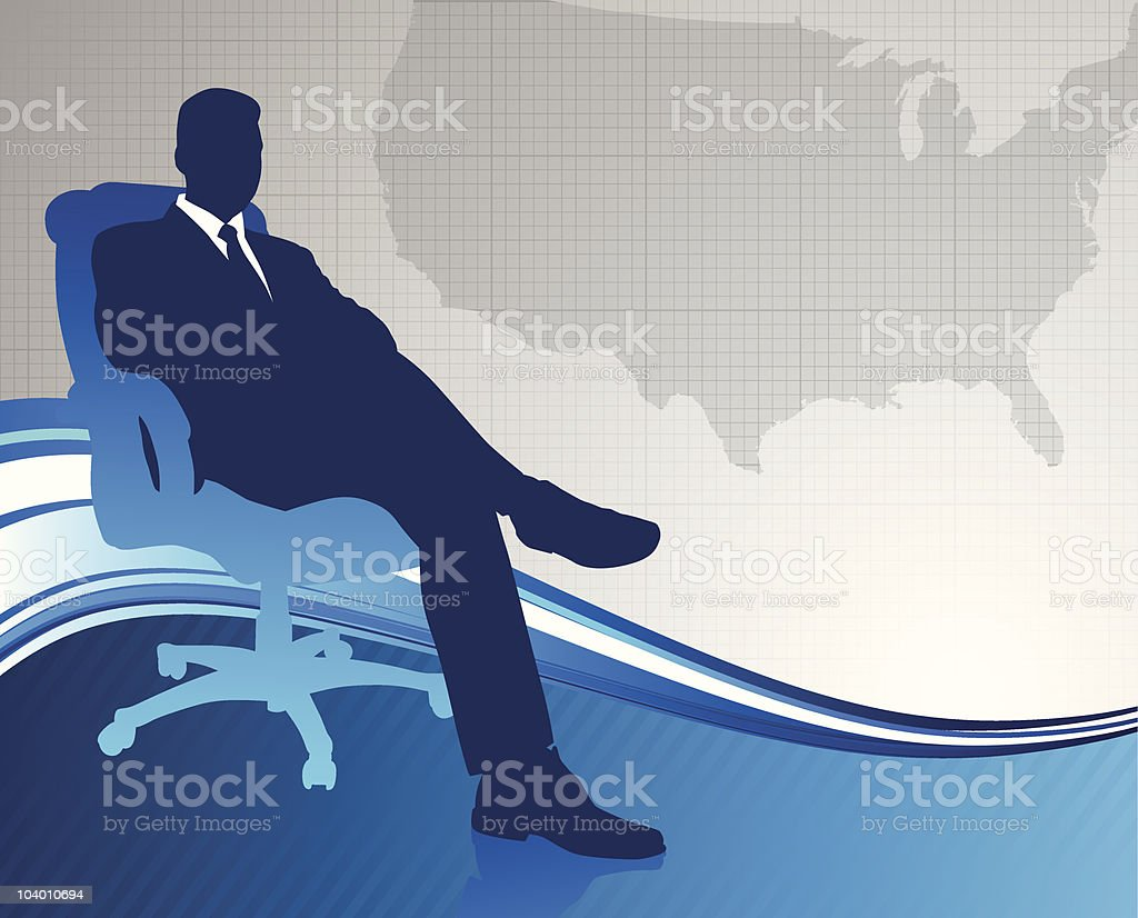 Business executive on US map background royalty-free stock vector art