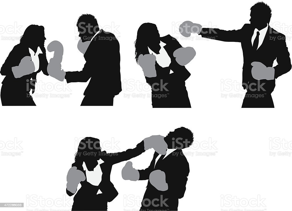 Business executives boxing royalty-free stock vector art