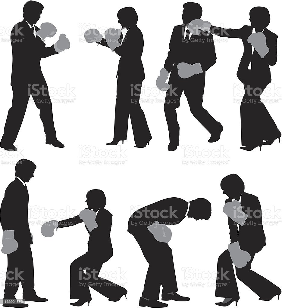 Business executives fighting vector art illustration