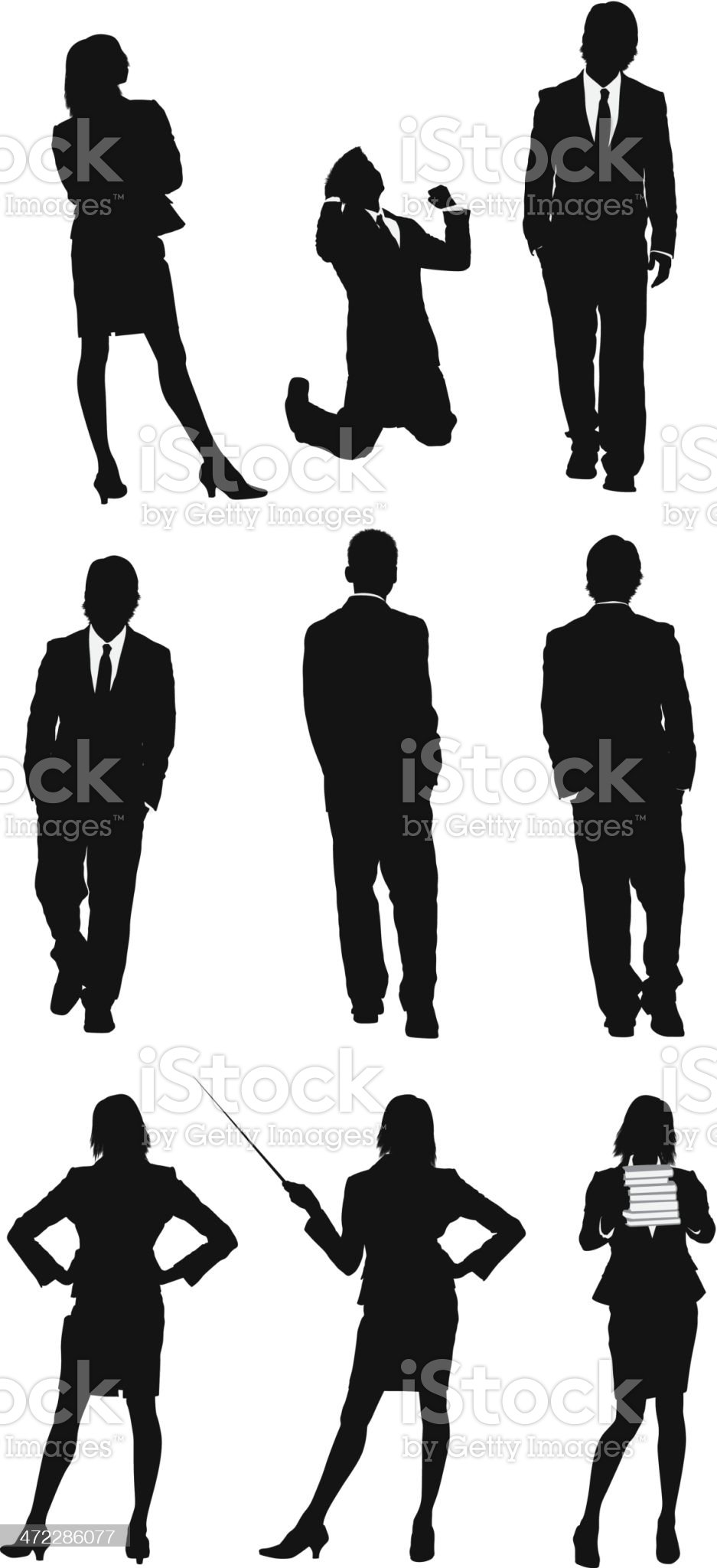 Business executives in different poses royalty-free stock vector art