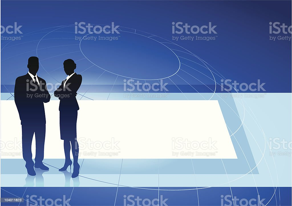 Business executives on blue internet background royalty-free stock vector art