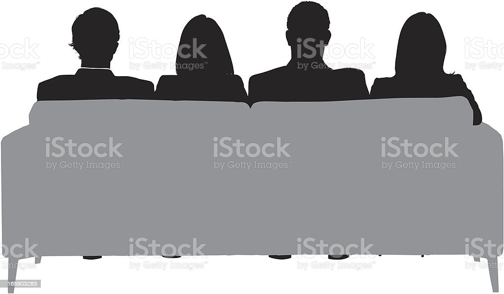 Business executives sitting on a couch vector art illustration