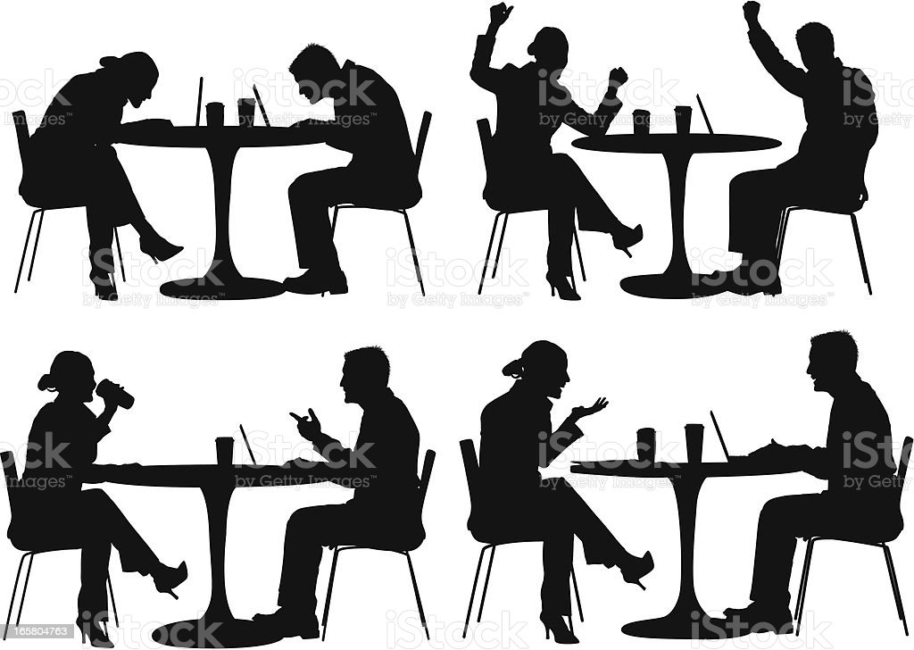 Business executives working on laptops during coffee break vector art illustration