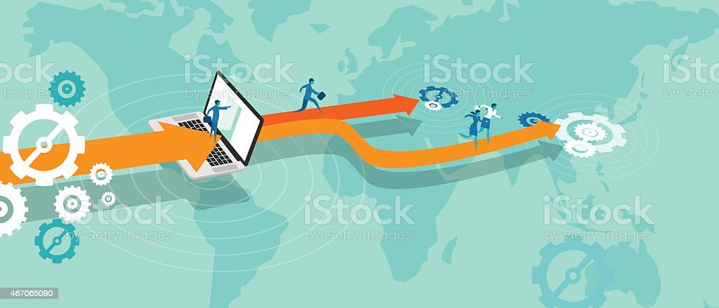 business expansion outsource vector art illustration