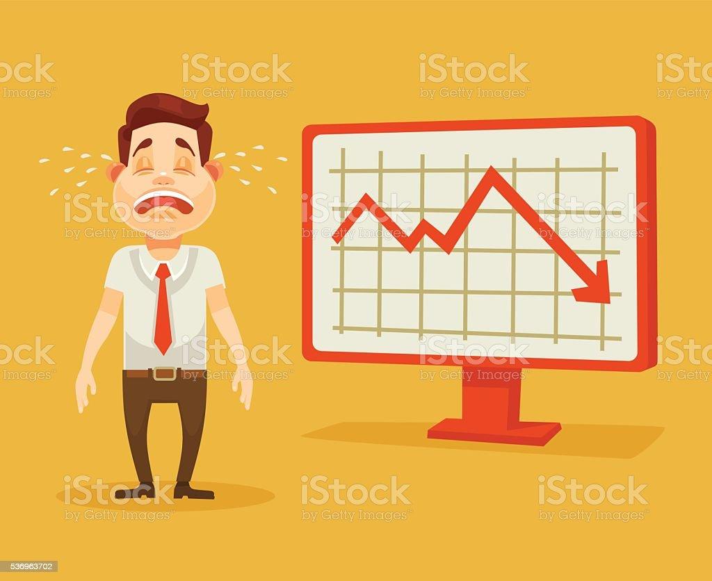 Business fail. Graph down. Crying businessman. Vector flat cartoon...