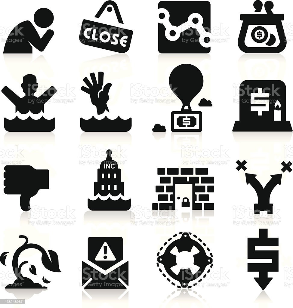 Business Failure Icons royalty-free stock vector art