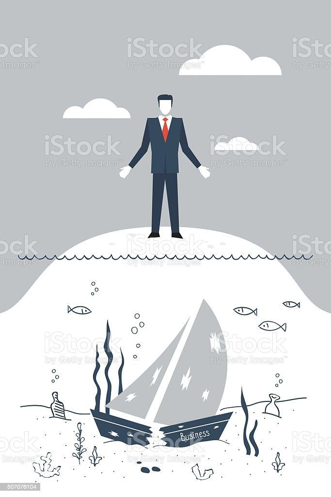 Business failure vector art illustration