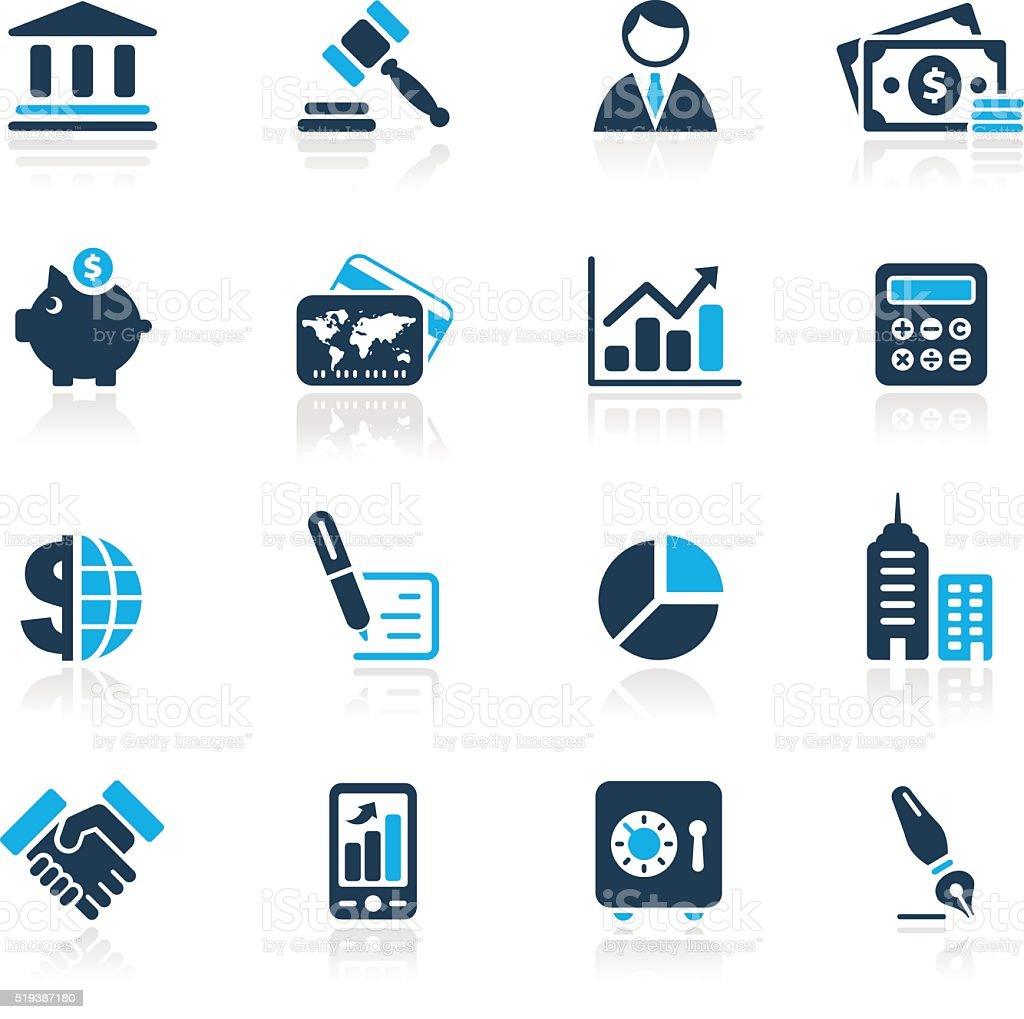 Business & Finance Icons // Azure Series vector art illustration