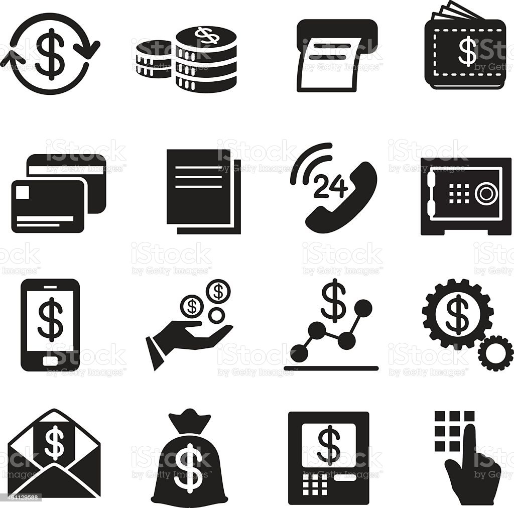Business , finance, Investment icons Set vector art illustration