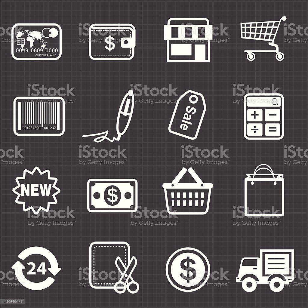 Business finance shopping icons and black background royalty-free stock vector art