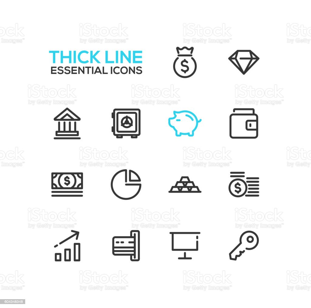 Business, Finance, Symbols - thick line design icons set vector art illustration