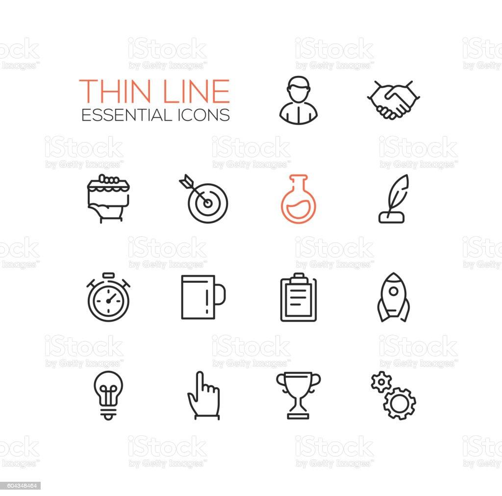 Business, Finance Symbols - thick line design icons set vector art illustration