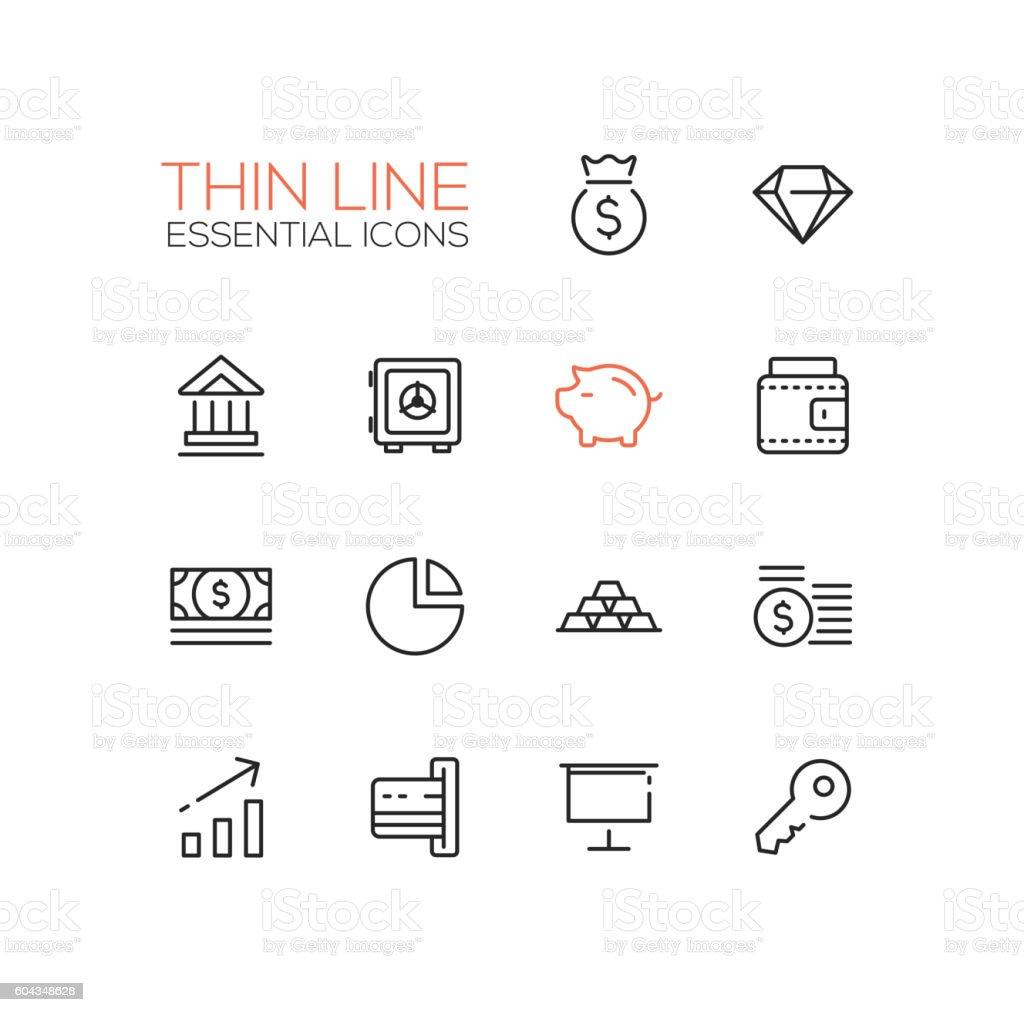 Business, Finance, Symbols - thick line design icons set vector art illustration