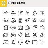 Business & Finance - Thin Line Icon Set