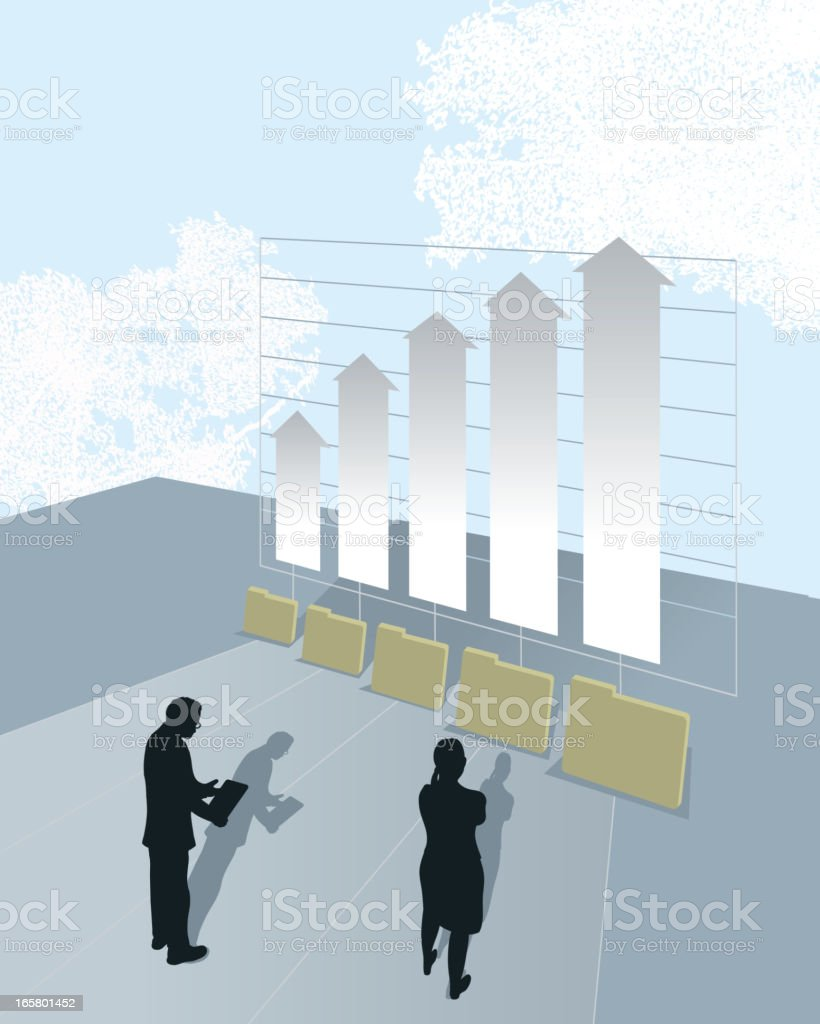 Business financial bar graph and portfolios vector art illustration